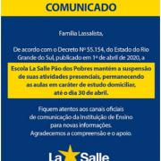 Suspensão de atividades presenciais até dia 30/04/20