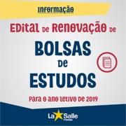 Edital Renovação de Bolsas 2019 - Ensino Fundamental